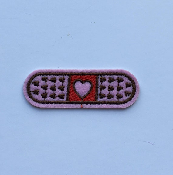 Band Aid with Heart Iron on Patch