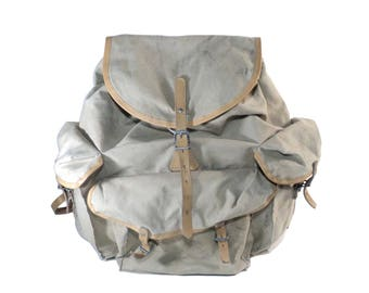 Lafuma, French Hikking Rucksack, Beige Trekking Canvas Backpack, Leather & Burlap Bag, Haversack, Backpacking