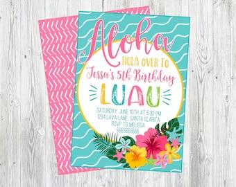Luau Birthday Party Invitation. Printable Luau Invitation. For Birthday, Baby Shower, Bridal Shower, Pool Party. Aloha. Hula On Over