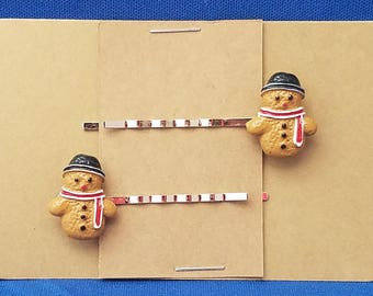 GINGERBREAD SNOWMAN COOKIE Bobby PIn Hair Clip Accessory - Set of 2 Handmade