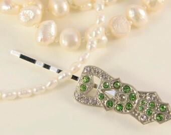 Emerald Headpiece Green Bridal Hair Comb Great Gatsby Headpiece 1920s Hair Clip Rhinestone Art Deco Emerald Hair Comb Wedding Head Piece