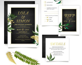 Tropical Botanical Wedding Invite Set . Miami Beach Cuba Eucalyptus Leaf Garland Vine Fern Dandelion Gold & Black Chalkboard PRINTED 3-Cards