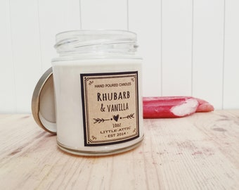 Rhubarb And Vanilla Soy Candle, Rhubarb Candle, Scented Soy Candles, Handmade Candles, Soy Candles, Fruit Scent, Bakery Scent