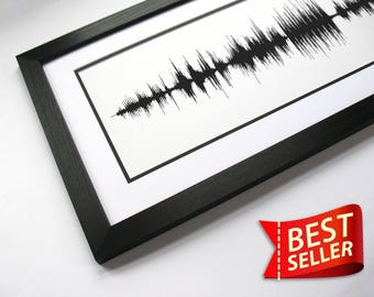 Custom Song Print - Sound Wave Art Print, Canvas, or Framed Print (Mono) - Request a Song and Artist; Waveform Soundwave Image Wall Art