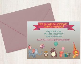Go Wild Animals Birthday Printable Invitation for Kids