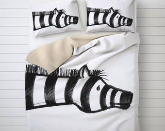 Zebra Duvet Cover, Kids Bedding, Nursery Duvet Cover, Illustration Art, Black And White, Children Room