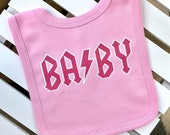 Rock BABY Bib Rock Baby Clothes Unique Baby Gift Baby Shower Gift Punk Rock Baby Punk Baby Clothes Cool Baby Clothes Hipster Baby