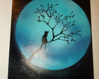 """Full Moon Cat Silhouette Tree Nightscape Painting 16"""" X 12"""""""