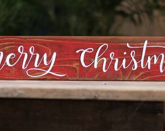 Merry Christmas Sign Farmhouse Decor Rustic Hand Painted Wood