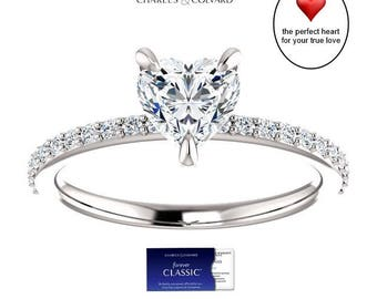1.25 Carat Heart Shape Moissanite (Forever Classic) Ring in 14K Gold (with Charles & Colvard authenticity card)
