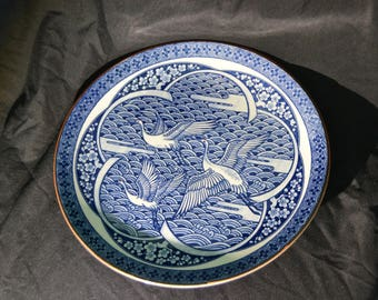 Ming Style Crane Plate Blue Ceramic Chinese Inspired Design Vintage  - PP565