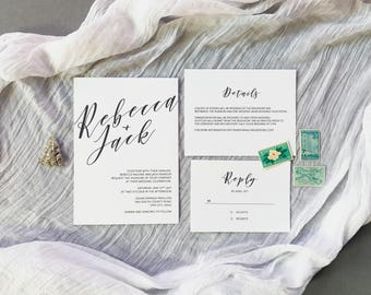 Printable Wedding Invitation, Modern Wedding Invitation, Minimalist Wedding Invitation, Wedding Invitation Download, Black and White Wedding