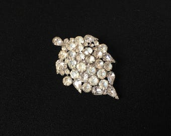 Vintage Clear Rhinestone Leaf Brooch Bride Wedding Bouquet Wholesale Resale Destash Collectible Lot