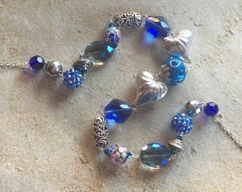 Beaded Blue Statement Necklace, Blue Glass Necklace, Beaded Necklace, Beaded Jewelry, Jewelry, Gifts For Her