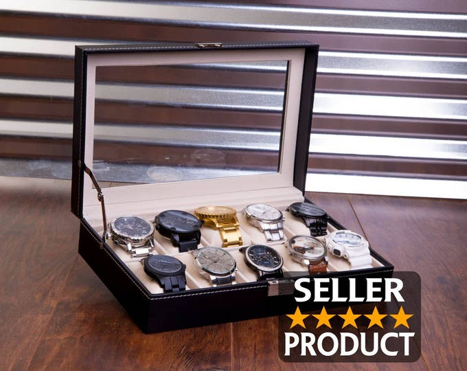 Engraved Watch Case & BONUS Microfiber Cloth, Custom Watch Box, Personalized Watch Display Box, Groomsman Best Man Gift, Jewelry Box Unique