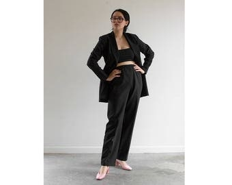 80s Business Suit / Double Breasted Blazer x High Waisted Pants / Fits up to a Large