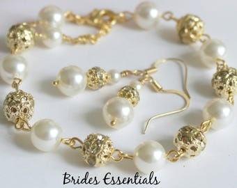 Gold or Silver Rhinestone Bracelet and Earring, Ivory Bracelet, Wedding Jewelry, Bridal Gift Set, Mother of Bride Bracelet, Bridal Jewelry