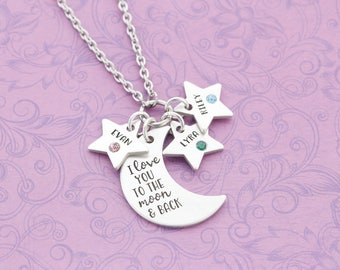 I Love You To The Moon and Back Necklace with Kid's Names - Engraved Jewelry - Custom Engraving - Moon Necklace - Star Necklace
