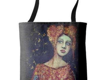 "L.E. Wearable Art Medium Tote Bag ""COSETTE"" All over print tote printed painting lady artwork by Deborah Bowe"