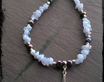 Blue lace agate and freshwater pearl Brigit Bridie necklace, goddess, peace, love, healing