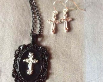 Christian Cross necklace and earrings