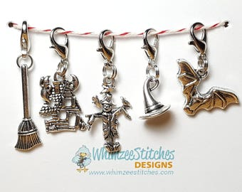 Halloween Spooky Knitting Progress Keepers (set of 5), Stitch Markers, Progress Markers with 12mm lobster clasp PK0006
