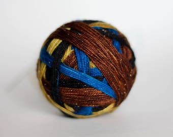 "Dyed to Order: ""Mad Eye Moody (4 color self-striping)"" - Black, Deep Blue, Gold, Woodsy Brown Stripes"