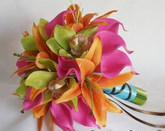 Hot/pink/fuchsia, orange, lime green, bouquet, Real Touch flowers, silk, wedding, package, cymbidium, orchids, calla lilies, lily/lilies