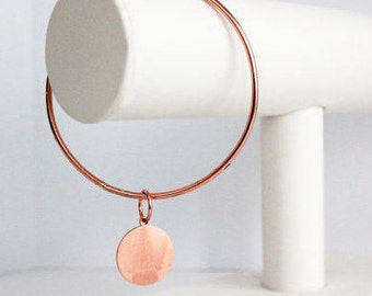 Copper Bangle with Engraved Copper Initial Disk - Bracelet with Personalized Copper Disk, Personalized Copper Bangle, Copper Bracelet