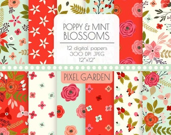 Mint Floral Digital Paper. Red, Mint, Ivory Peony, Rose Blossom Patterns. Vintage, Shabby Cottage Chic Background. Mint Hand Drawn Flowers.