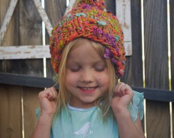 Tangerine Kid Hat/ Handspun Kid Hat/ Kid Pom Pom Hat/ Kid Beanie/ Kid Hat/ Knit Kid Hat/ Little Girl Hat/ Orange Hat/ Child Hat