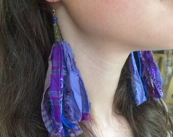 Purple Sari Silk Festival Tassel Earrings, Long Purple Boho Tassel Earrings, Bohemian Tassel Earrings, Festival Earrings, Sari Silk Earrings