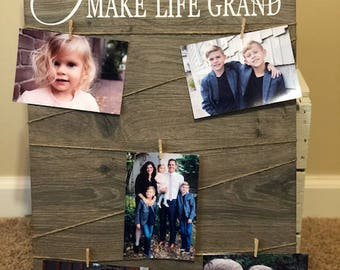 Grandchildren Make Life Grand Wood Sign - Gift for Grandparents Wood Sign - Gifts for Grandparents - Photo hanger - Great for Housewarming