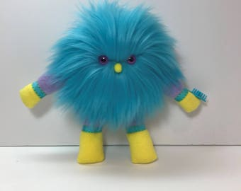 Turquoise Stuffed Animal, Monster Doll, Furry Soft Cuddly Stuffed Animal, Plush Animal Toy, Silky Hair Doll with Brush, Monster Toy Animal