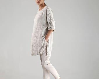 Natural Linen Tunic / Long Linen Tunic / Maxi Loose Linen Tunic / Oversized Linen Tunic / Custom Linen Tunic