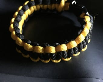 Black & Yellow Paracord Bracelet - Large
