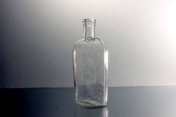 Antique Bottle, Warranted Flask, 7 Ounce, Whiskey Flask, Clear Glass, Cork Closure, Collectible