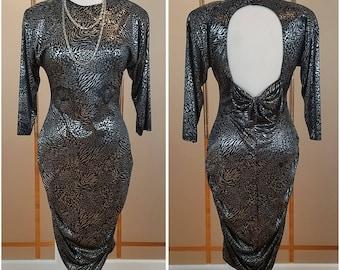 Slinky black and silver animal print open back body hugging dress - Large