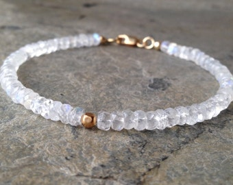 Rainbow Moonstones with Gold Clasp Bracelet