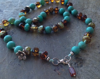 Hand knotted Turquoise and Czech beads with Silver Necklace, Knotted mixed beads necklace