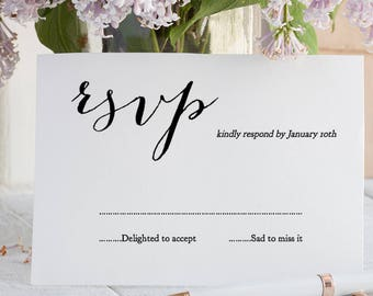 RSVP Printable Card, Wedding rsvp card template, Instant Download and Print. Sweet Bomb. Edit in WORD or PAGES