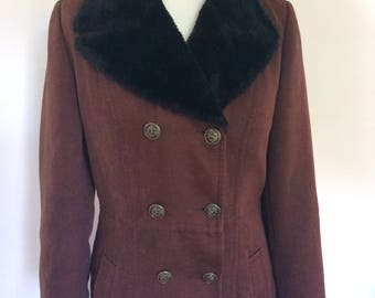 Vintage Chocolate brown coat double breasted military womens coat faux fur collar  size medium