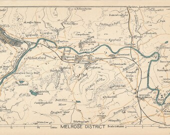 1949 Melrose Scotland Vintage map