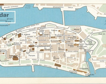 1969 Zadar Croatia Vintage Map