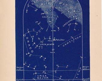 1882 Antique Star Charts, Set of 4, October