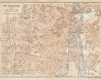 1909 Los Angeles California Antique Map