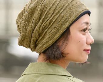 Warm Slouchy Beanie Made with 100% Organic Cotton - Knit Watch Cap - Slouchy Winter Hat - Winter Slouch Beanie -  Baggy Beanie - bw-kdo