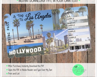 Printable Ticket to Los Angeles Boarding Pass, Customizable Template, Digital File - You Fill and Print