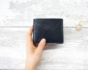 Mens wallet blue brown, Leather wallet, bifold wallet ID window wallet, minimalist wallet, wallet personalized, card holder, badge holder