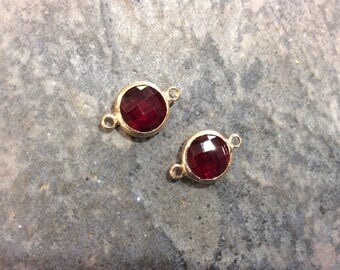Garnet Red bezel set faceted glass connector charms Package of 2 gold finish charms